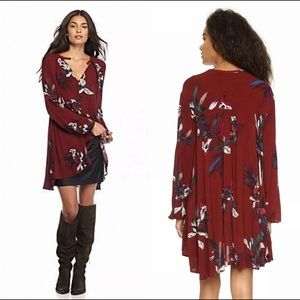 Free People S Red Top Floral  Orchid Tunic Dress